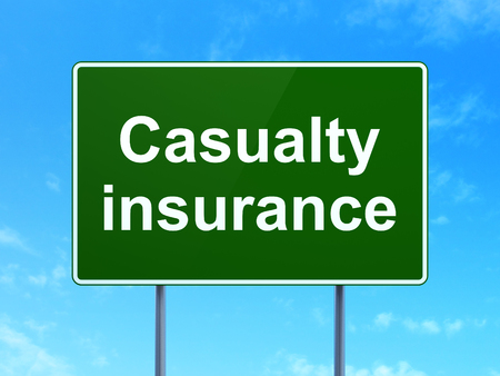casualty: Insurance concept: Casualty Insurance on green road highway sign, clear blue sky background, 3D rendering Stock Photo