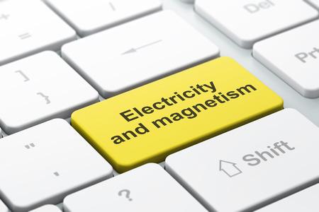 magnetismo: concetto di scienza: tastiera del computer con la parola elettricità e magnetismo, messa a fuoco selezionata sul tasto enter sfondo, il rendering 3D