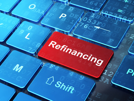 refinancing: Finance concept: computer keyboard with word Refinancing on enter button background, 3D rendering