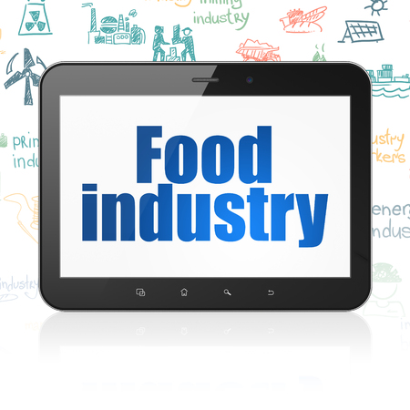 food industry: Industry concept: Tablet Computer with  blue text Food Industry on display,  Hand Drawn Industry Icons background, 3D rendering Stock Photo
