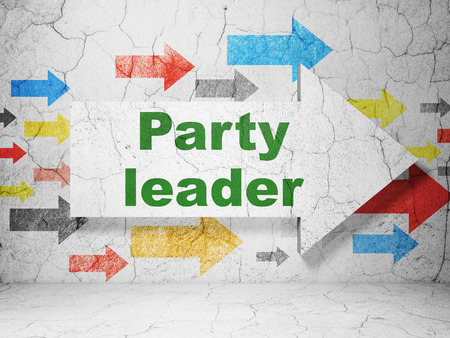 Politics concept:  arrow with Party Leader on grunge textured concrete wall background, 3D rendering