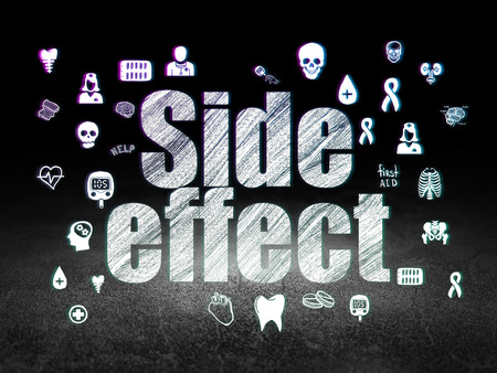 side effect: Health concept: Glowing text Side Effect,  Hand Drawn Medicine Icons in grunge dark room with Dirty Floor, black background