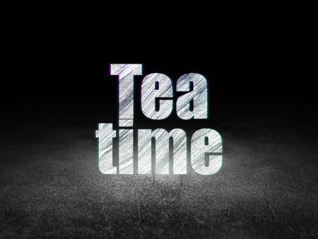 text room: Time concept: Glowing text Tea Time in grunge dark room with Dirty Floor, black background Stock Photo
