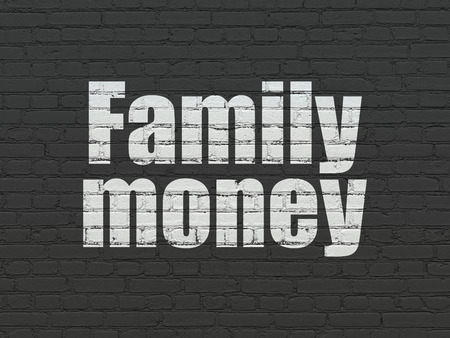 pay wall: Currency concept: Painted white text Family Money on Black Brick wall background