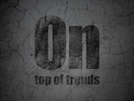 trends: Finance concept: Black On Top of trends on grunge textured concrete wall background