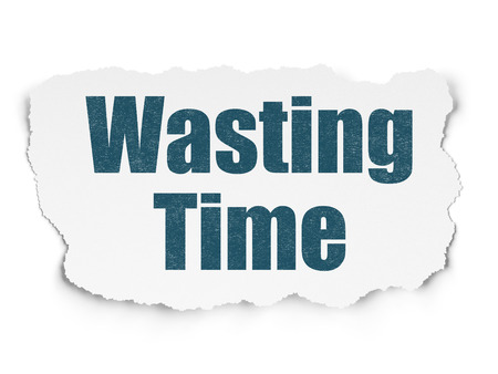 wasting: Timeline concept: Painted blue text Wasting Time on Torn Paper background with  Hexadecimal Code Stock Photo