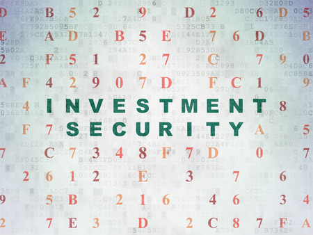 investment security: Security concept: Painted green text Investment Security on Digital Data Paper background with Hexadecimal Code
