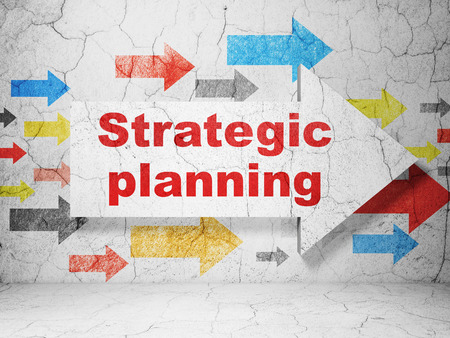 strategic planning: Finance concept:  arrow with Strategic Planning on grunge textured concrete wall background, 3D rendering Stock Photo