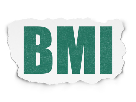 BMI: Medicine concept: Painted green text BMI on Torn Paper background with Scheme Of Hand Drawn Medicine Icons