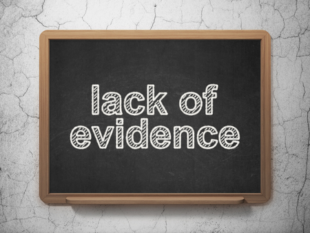 lack: Law concept: text Lack Of Evidence on Black chalkboard on grunge wall background, 3D rendering