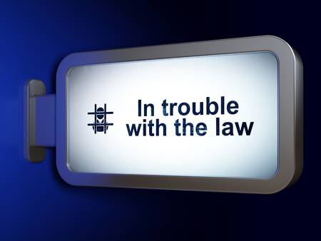 bill of rights: Law concept: In trouble With The law and Criminal on advertising billboard background, 3D rendering Stock Photo