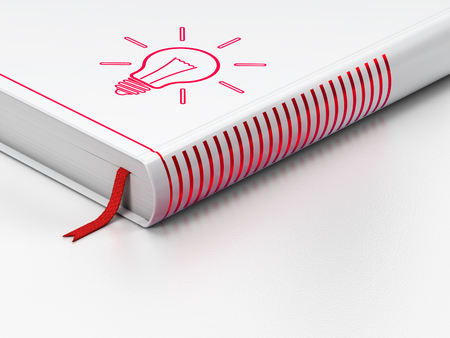 closed book: Business concept: closed book with Red Light Bulb icon on floor, white background, 3D rendering Stock Photo