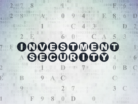 investment security: Privacy concept: Painted black text Investment Security on Digital Data Paper background with Hexadecimal Code Stock Photo