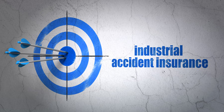industrial accident: Success Insurance concept: arrows hitting the center of target, Blue Industrial Accident Insurance on wall background, 3D rendering