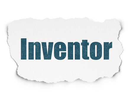 inventor: Science concept: Painted blue text Inventor on Torn Paper background with  Tag Cloud