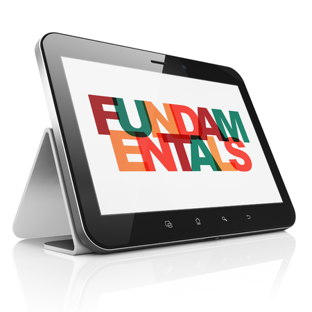 fundamentals: Science concept: Tablet Computer with Painted multicolor text Fundamentals on display, 3D rendering