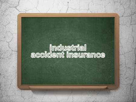 industrial accident: Insurance concept: text Industrial Accident Insurance on Green chalkboard on grunge wall background, 3D rendering