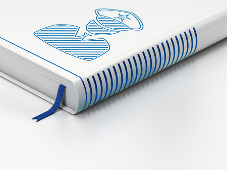 Privacy concept: closed book with Blue Police icon on floor, white background, 3D rendering Stock Photo