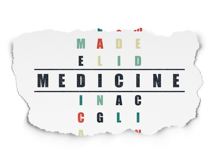 word medicine: Healthcare concept: Painted black word Medicine in solving Crossword Puzzle on Torn Paper background