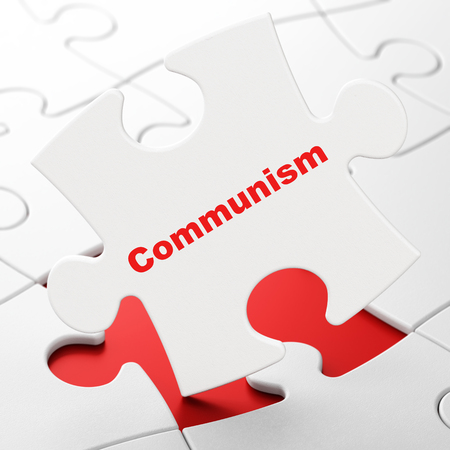 communism: Political concept: Communism on White puzzle pieces background, 3D rendering
