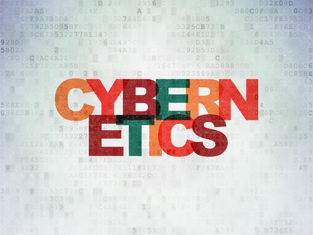 cybernetics: Science concept: Painted multicolor text Cybernetics on Digital Data Paper background