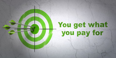 pay wall: Success business concept: arrows hitting the center of target, Green You get what You pay for on wall background, 3D rendering Stock Photo