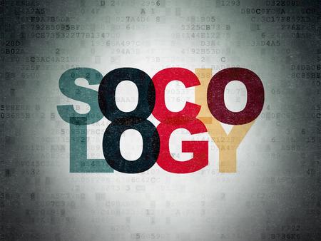 sociology: Concepto de la educación: Pintado Sociología texto multicolor en el fondo de papel de Datos Digitales