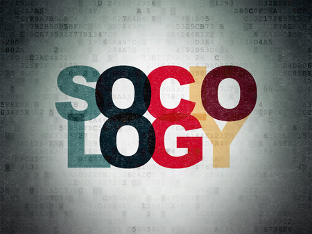 sociology: Education concept: Painted multicolor text Sociology on Digital Data Paper background Stock Photo