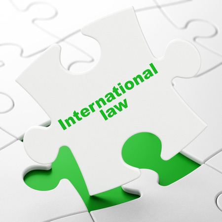 international law: Political concept: International Law on White puzzle pieces background, 3D rendering