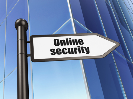 online safety: Safety concept: sign Online Security on Building background, 3D rendering