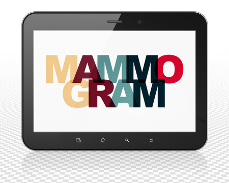 mammogram: Health concept: Tablet Pc Computer with Painted multicolor text Mammogram on display, 3D rendering Stock Photo
