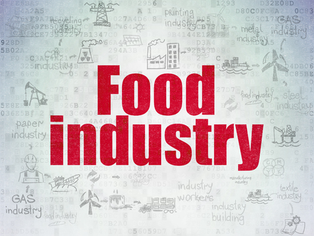 food industry: Industry concept: Painted red text Food Industry on Digital Data Paper background with  Scheme Of Hand Drawn Industry Icons Stock Photo