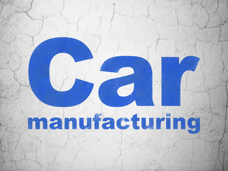 dark ages: Industry concept: Blue Car Manufacturing on textured concrete wall background