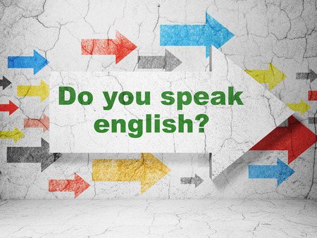 speak english: Studying concept:  arrow with Do you speak English? on grunge textured concrete wall background, 3D rendering Stock Photo