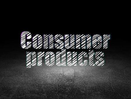 consumer products: Finance concept: Glowing text Consumer Products in grunge dark room with Dirty Floor, black background Stock Photo