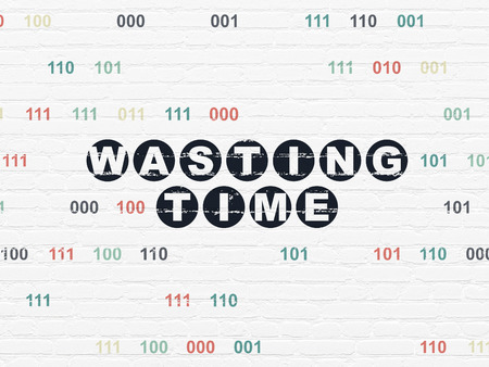 wasting: Time concept: Painted black text Wasting Time on White Brick wall background with Binary Code