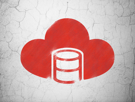 java script: Software concept: Red Database With Cloud on textured concrete wall background
