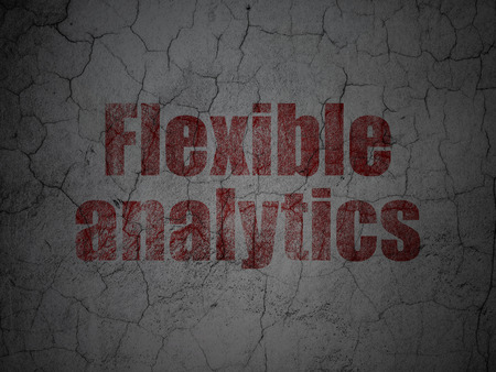 flexible: Business concept: Red Flexible Analytics on grunge textured concrete wall background