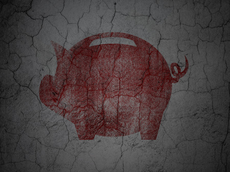 money box: Currency concept: Red Money Box on grunge textured concrete wall background