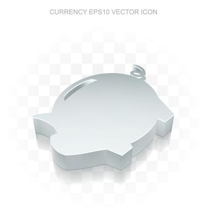 pig iron: Banking icon: Flat metallic 3d Money Box, transparent shadow on light background Illustration