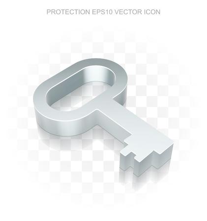 10 key: Privacy icon: Flat metallic 3d Key, transparent shadow on light background