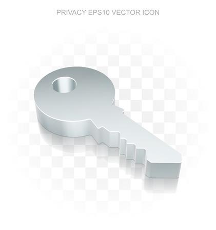 icono de seguridad: metálica plana 3d Key, sombra transparente sobre fondo claro