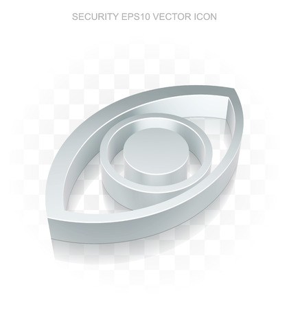 eye 3d: Privacy icon: Flat metallic 3d Eye, transparent shadow on light background Illustration