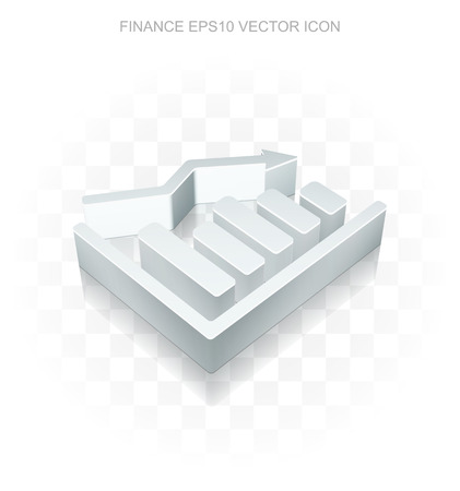 decline: Finance icon: Flat metallic 3d Decline Graph, transparent shadow on light background, EPS 10 vector illustration.