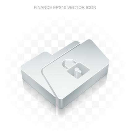 folder lock: Business icon: Flat metallic 3d Folder With Lock, transparent shadow on light background
