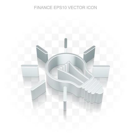 Finance icon: Flat metallic 3d Light Bulb, transparent shadow on light background