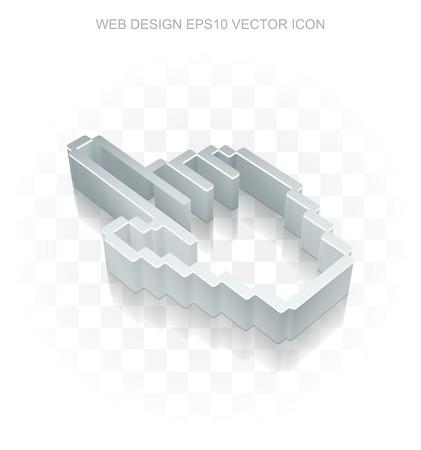 3d mouse: Web design icon: Flat metallic 3d Mouse Cursor, transparent shadow on light background Illustration