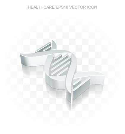 Healthcare icon: Flat metallic 3d DNA, transparent shadow on light background
