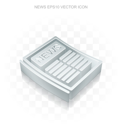 good news: News icon: Flat metallic 3d Newspaper, transparent shadow on light background