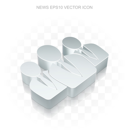 bad news: News icon: Flat metallic 3d Business People, transparent shadow on light background